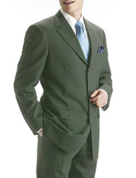 Men's Olive Green 1 Pure Wool. (SUPER 100) 3-button, no vent