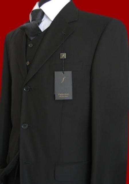 Solid Liquid Black Vested Super 150's Wool Men's Suits
