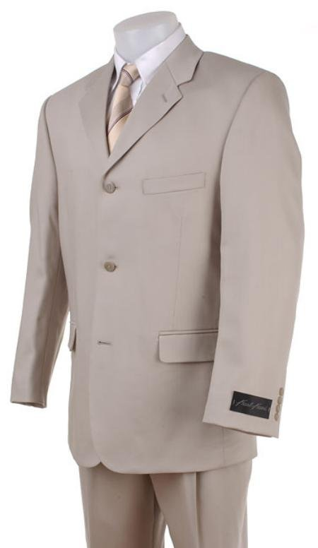 Tan~Beige~Light Taupe~Sand Wool Blend polyester Summer suit