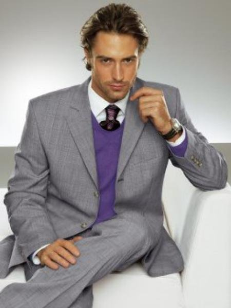 Men's Super 100 Wool 3-Button Light Gray premeier quality italian fabric Suit