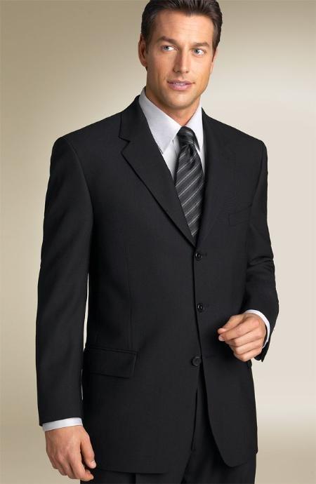 Liquid Solid Jet Black Men's Suits Super 150's premeier quality italian fabric Suit Side Vented