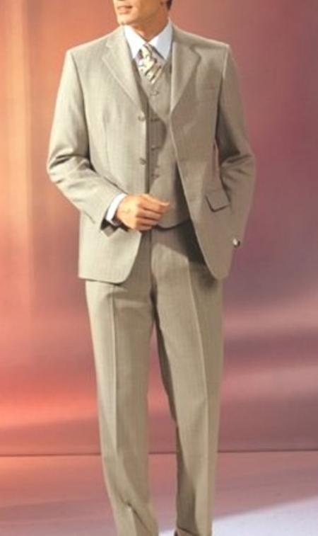Beige Vested 3 Pieaces Super 120's Wool Suit