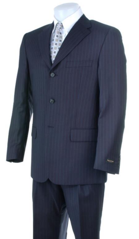 Liquid Navy Blue Pisntripe 3 Buttons Super 150's Wool premeier quality italian fabric Wool Suits