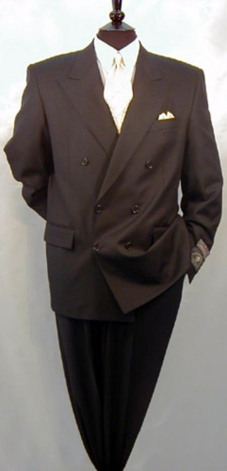 Double Breasted Men's Suit, 1 Wool Super 120's, Peak Lapel Style Ultra Fashion