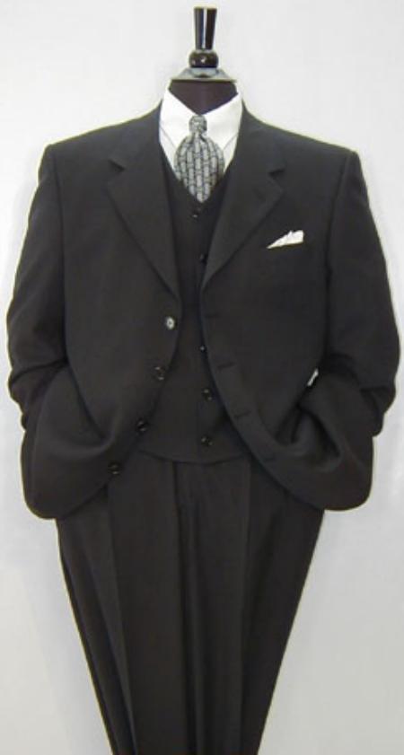 Luxurious High End UMO Collezion Men's 3-Button Super 150's Wool & Cashmere Solid Black