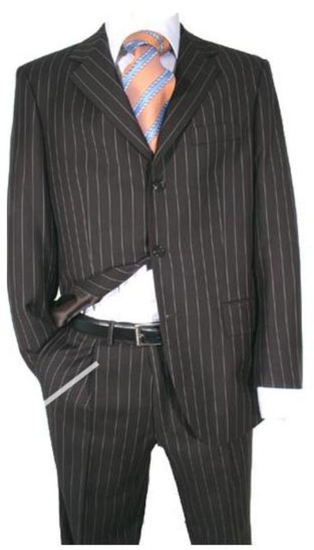 Black Super 120's Wool Chalk Pinstripe