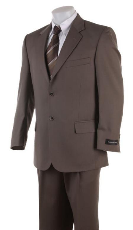 Men's 2 Button English Brown Super Wool Business Suit