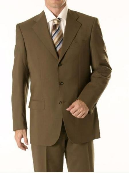 Dark Olive Green Business Suit Super 150 Wool 3-Button premeier quality italian fabric Men's Suits