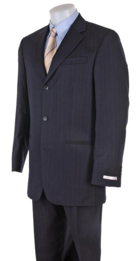 Men's Dress Business Dark Navy Ton on Ton Super 140's Wool