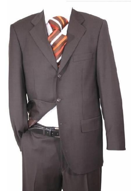 Charcoal Super 150 Wool 3-Button Flat Front Pants premeier quality italian fabric Suit