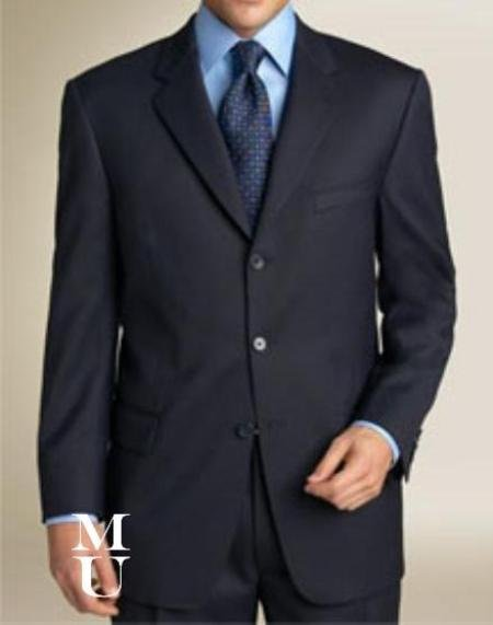 Navy Blue Suit features classic three button 1 sophisticated Wool