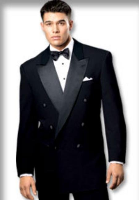 Solid Black Double Breasted Tuxedo Suit