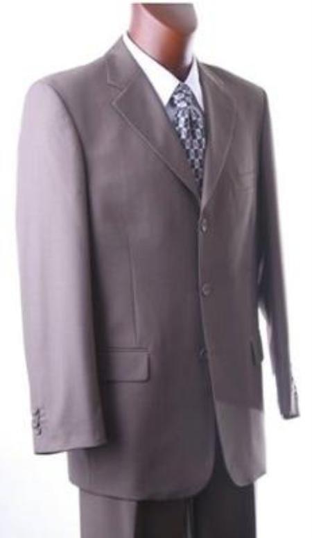 Solid Taup (Grayish - brown color Dark Olivish~Beige) Super 140's Wool Suit Back Side Ve
