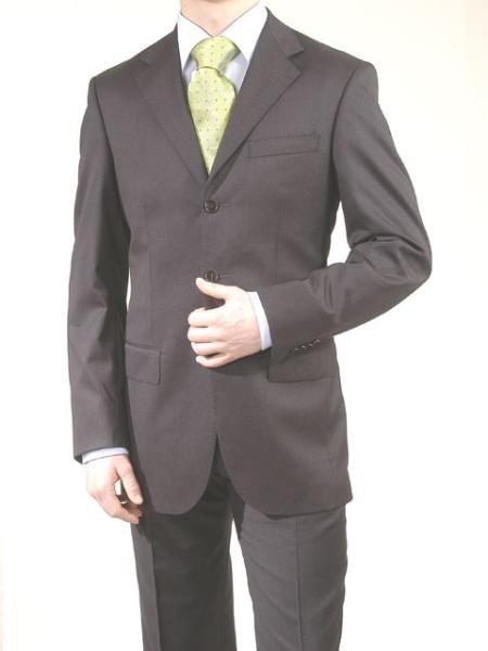 Charcoal Gray/Black -3 Button Super 150's Wool & Cashmere Suit