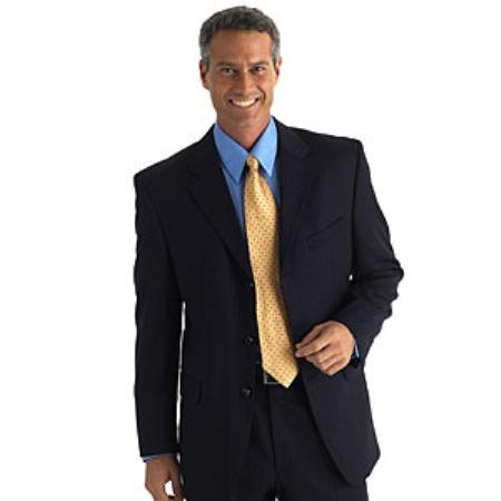 Mens Darkest Navy Blue Business Super 100's Wool Dress Suit
