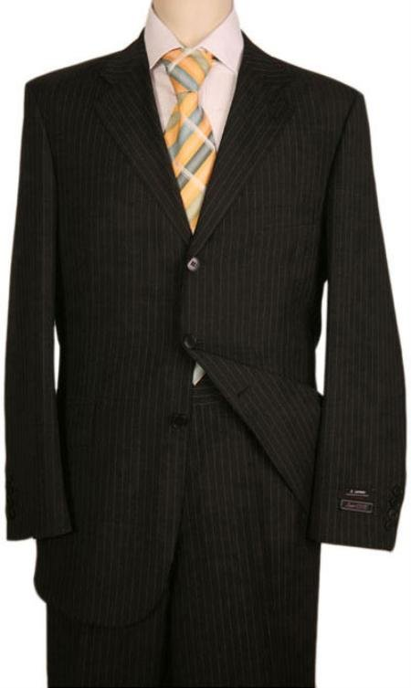 Black Almost Very Dark Gray Wiht light Gray Pinstripe 1 Worsted Wool 3 Buttons Suits