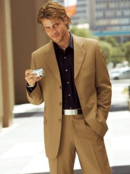 3 Buttons Camel~Bronz Super 120's Wool 3 Button Suit