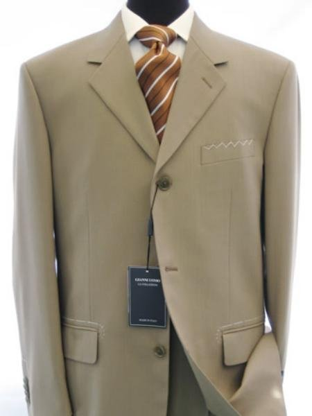 Soft Solid Three Button Drak Tan / Taup Business Super 140's Wool Dress Suits