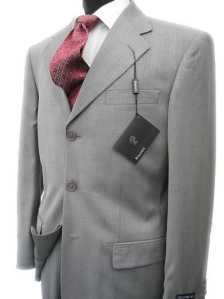 Collezinai MEN SUIT~150'S WOOL~LIGHT GRAY Shark Skin Suit