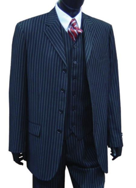 Professional Vested Pin Stripe 4 Button High Notch Suit
