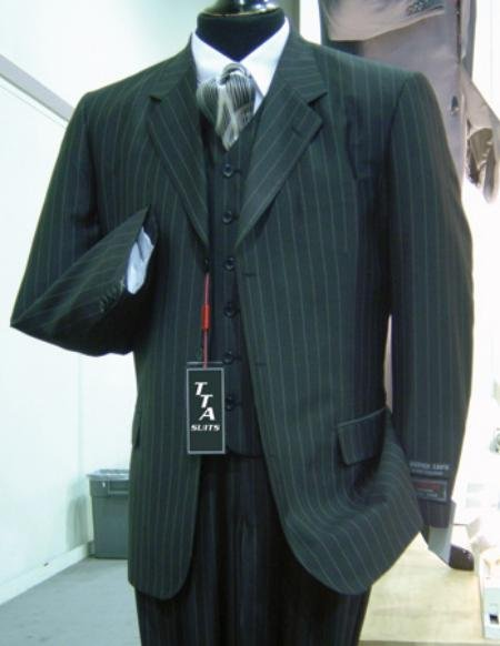 3 Button Wide Pinstripe In Charcoal Grey Vest Included