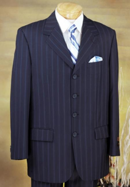 Executive 4 Button Navy Pinstripe Suit with High Notched Lapels