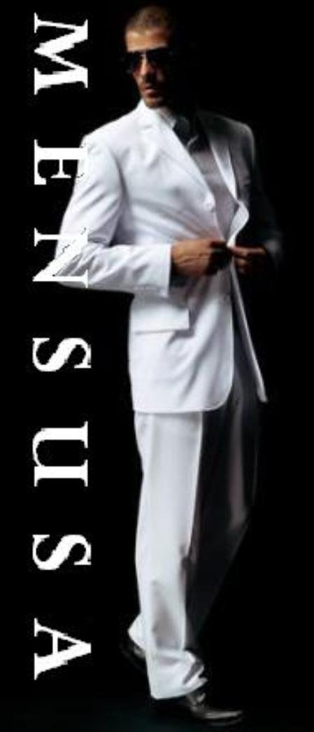 1 Polyster Men's White Suit 1 Polyster Light Weight Feels Super Soft No Vent