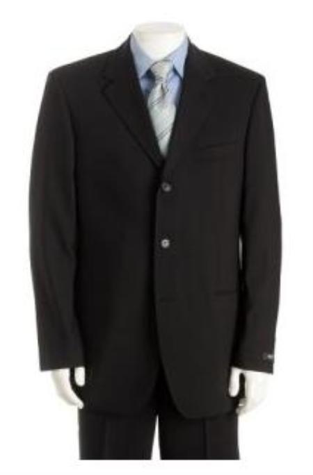 UMO Simple & Classy Solid Black Super 150's Wool & Cashmere Blend Back Side Vented