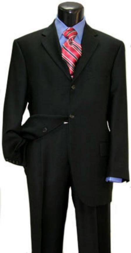 Black Super 150's Wool Men's Suits 3 Buttons Vented