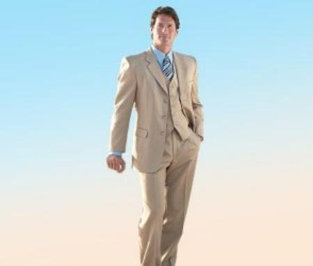 Elegant 3 Piece Tan Mens Suit Made Crafted From Super 150's premeier quality italian fabric Wool