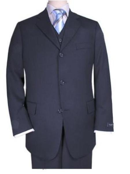 Men's 3 piece premeier quality italian fabric fabric Navy Vested Super 120's Mens 3 Piece Suit