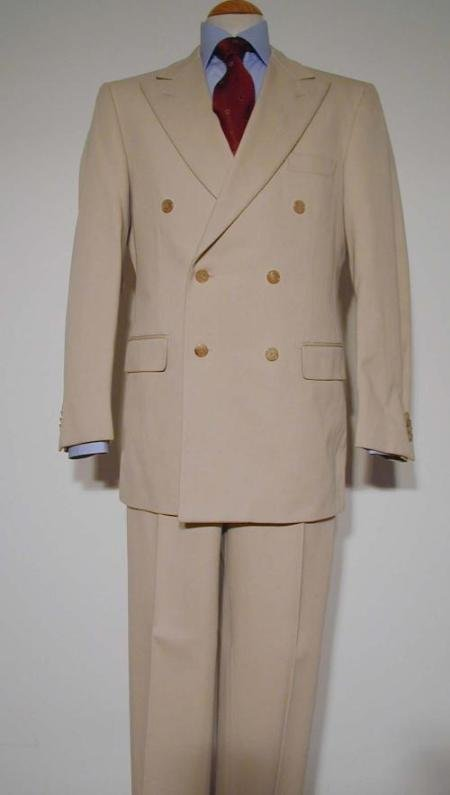 Tan Pure Virgin Wool Double Breasted Men's Suit