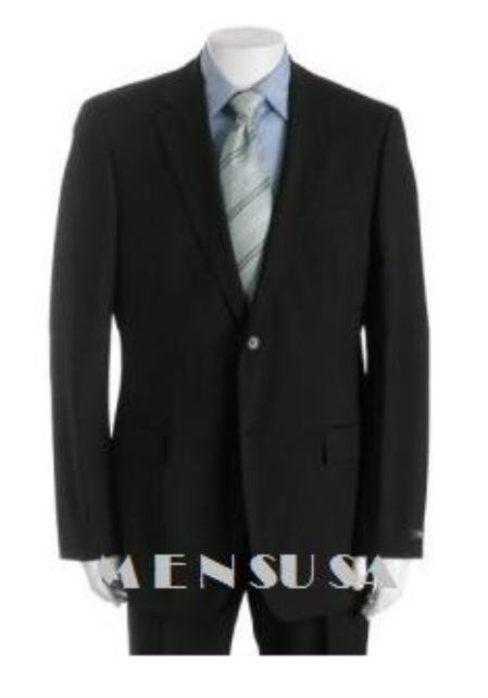 UMO Simple & Classy Solid Black Super 150's Wool 2 Button Style Back Side Vented