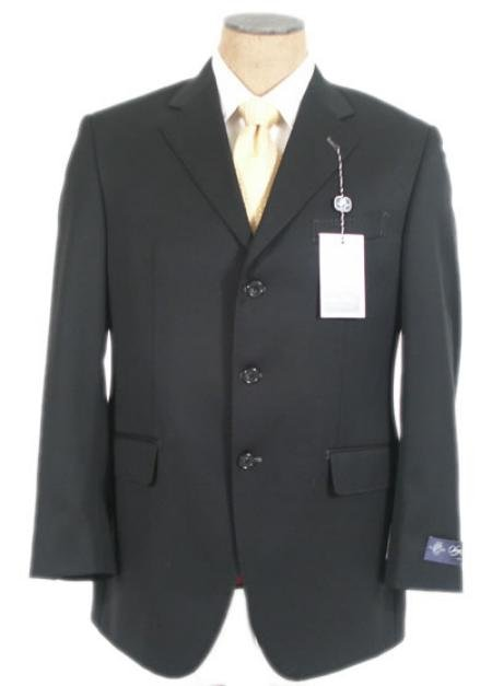 Black Super 140's Wool Men's Suits 3 Buttons