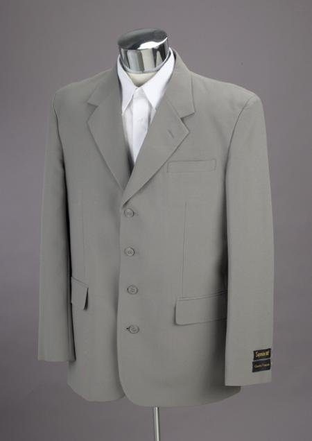 Brand New Light Gray 4 Buttons Mens Suit