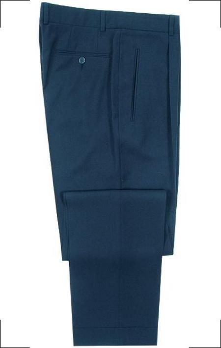 Mizzani Navy Blue Pleated Super 120's Wool premeier quality italian fabric Dress Slacks