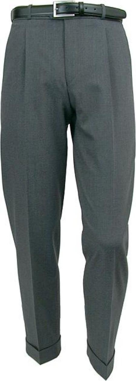 Mizzani Light Gray Pleated Super 120's Wool premeier quality italian fabric Dress Slacks