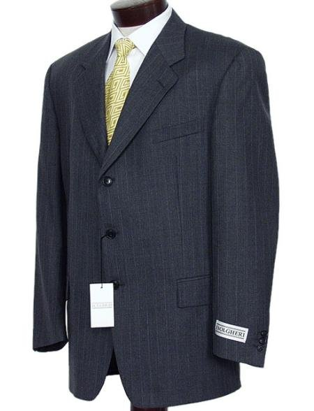 Dark Charcoal Multi Pinstripe Business Suits Super 120's Wool No Vent Pleated Pants
