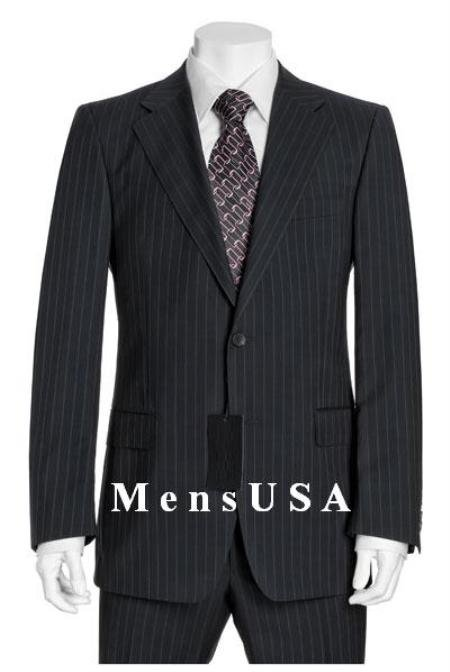 Muted Mini Pinstripe 140's Wool 2 Button Pleated Pants No Vent