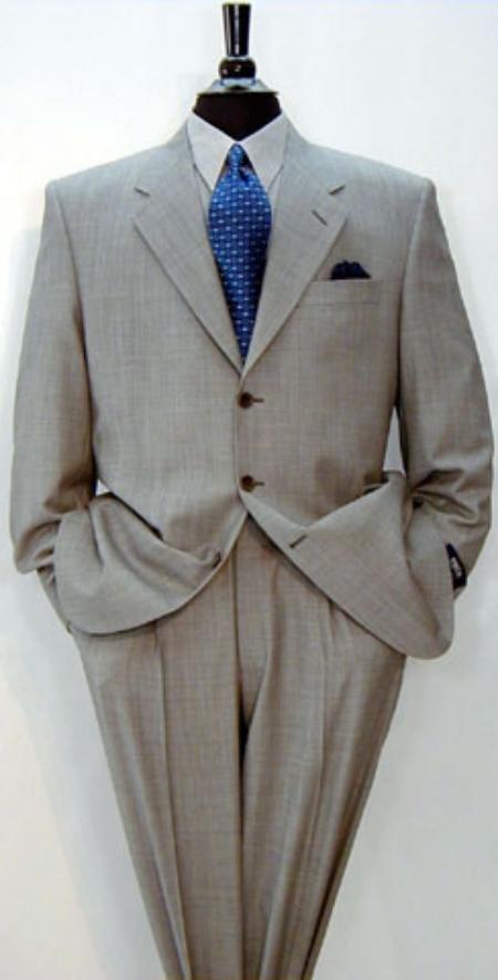 Signature Gold Super 150's & Marino Wool Solid Light Gray premeier quality italian fabric Suit