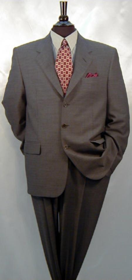 Mens Charcoal Gray 1 Wool Suit 3 Buttons Men's Dress Business Suits
