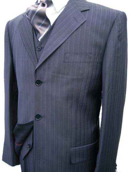 Navy Blue Stripe 3 Piece Suit � 3 Button Jacket / Side Vents / Vest / Pleated Pant / Tailo