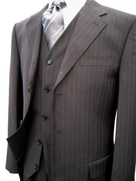 Black Pinstripe Super 120's Wool VEsted Mens Suit