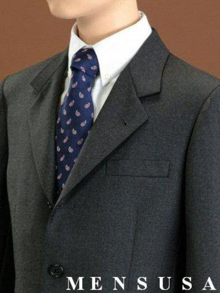 Top Quality Boys Solid Charcoal Gray 3 Buttons Worsted Light Weight Wool Suit
