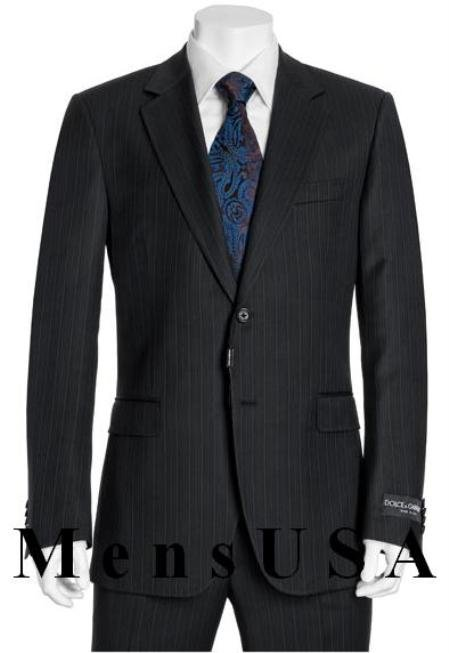 High Quality 2 Button Subtle Muted Conservative Navy Blue Pinstripe Super 140's Wool Suit