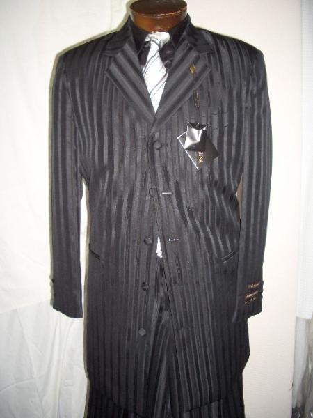 Black Gangster Ton On Ton Shadow Pinstripe Fashion Long Zoot Suit