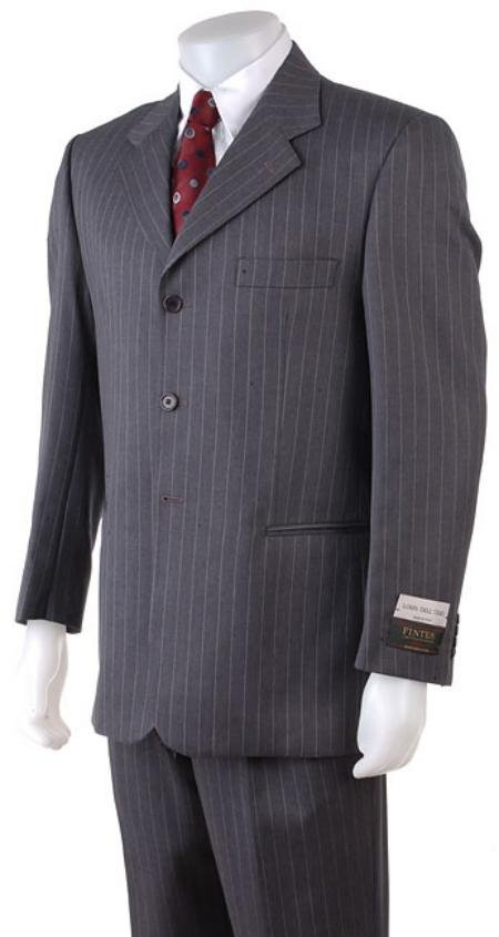 Men's 38020 Button Style Charcoal Gray Pinstripe Light Weight On Sale