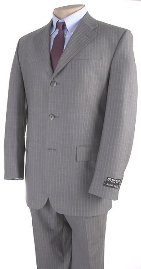 Mens Light Gray Pinstripe 3 Buttons Dress Suit