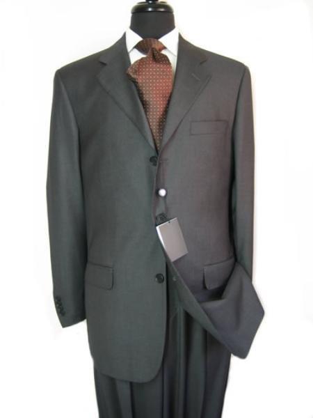 premeier quality italian fabric Double Vent Super 150's Wool Slid Charcoal Gray