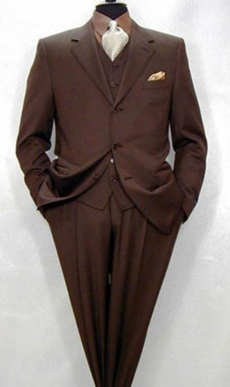 Tesroy 3 Buttons Super 150's Wool Vested Brown Side Vents